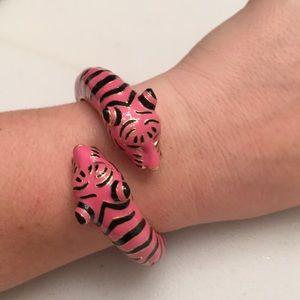 Pink Tiger Head Bangle Bracelet